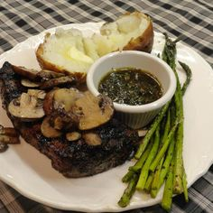 Grilled Chimichurri Steak with pan grilled mushrooms and asparagus