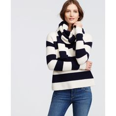 Ann Taylor Cashmere Stripe Scarf Sweater ($348) ❤ liked on Polyvore featuring tops, sweaters, winter white, ivory cashmere sweater, white wrap sweater, long sleeve wrap sweater, ann taylor sweaters and button sweater