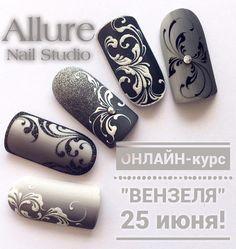 Nail Art Arabesque, Swirl Nail Art, Manicure E Pedicure, Nail Studio, Dream Nails, Nagel Gel, Flower Nails, Stylish Nails, Beautiful Nail Art