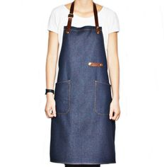 Aprons Household Cleaning Protections Strong-Willed High Quality Denim Work Aprons Pu Leather Strap Gray Apron Barista Barber Overalls Restaurant Gardener Apron Working Clothes Dependable Performance