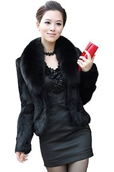 Queenshiny® Women's Faux Rabbit Fur Overcoat With Faux Fox Collar * You can get more details by clicking on the image.