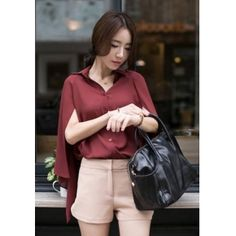 Wholesale Fashionable & Personality Lapel Pure Color Leave Two Blouse----Wine-red top dresses