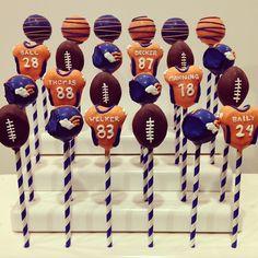 Denver Broncos cake pops