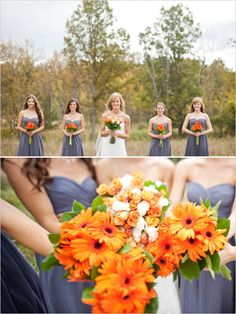 gerber daisy bridesmaid bouquets and gray dresses