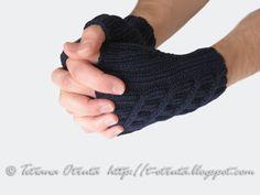 Navy blue gloves for men hand knit fingerless mitts by Otruta