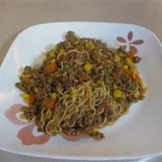 An easy, quick and economical recipe that kids really like. Ground beef, noodles, corn and tomatoes make a complete meal in one skillet. My sister who ran a daycare used to make this and everybody enjoyed it.                                                                                                                                                     More