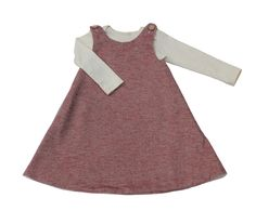 Red Cotton Herringbone Wrap Pinafore - Originally $68
