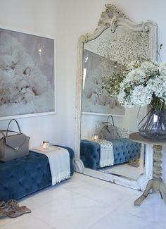 Hallway hall contemporary decorating ideas with large mirror hallway ottoman