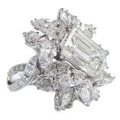 Rosamaria G Frangini   Modern Jewellery   Magnificent Emerald Cut Diamond Platinum Cluster Ring