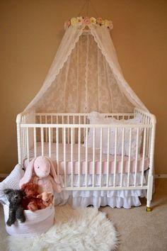 Lace flower canopy, flower canopy, lace canopy, canopy, bed canopy Baby Bedroom, Nursery Room, Girl Nursery, Floral Nursery, Baby Cribs, Girl Cribs, Little Girl Rooms, Soft Blankets, Baby Decor