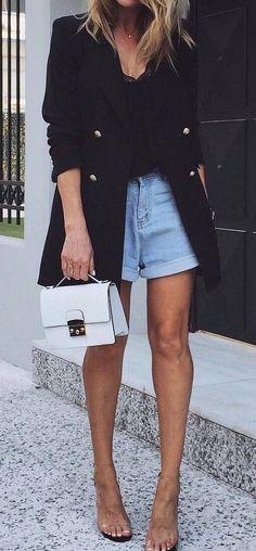casual outfit inspiration / black blazer + top + bag + denim shorts + heels