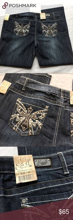 """NWT Earl Jeans Cross Embellished Straight Leg Brand new with attached tags. Size 14P. Inseam 29.5,"""" rise 10,"""" waist 16.5"""" across. Earl Jeans Jeans Straight Leg"""