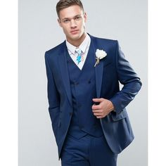 ASOS WEDDING Slim Suit Jacket in Light Navy 100% Wool ($130) ❤ liked on Polyvore featuring men's fashion, men's clothing, blue, old navy mens clothing, tall mens clothing, slim fit mens clothing, asos mens clothing and mens beach wedding apparel