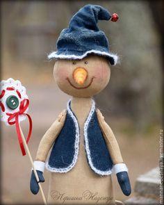 Купить Кофейный снеговичок со снежинкой. - синий, снеговик, кофейный снеговичок, ароматизированная игрушка