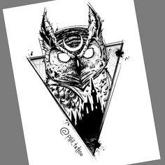 Arte criada por Felipe (phil.tattoo).    Coruja e castelo desenhado no papel. Owl Tattoo Design, Tattoo Design Drawings, Tattoo Sketches, Tattoo Designs, Blessed Tattoos, Skull Stencil, Samurai Artwork, Geometric Bear, Animal Tattoos