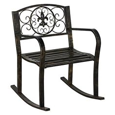 Cheap Topeakmart Sturdy Patio Metal Rocking Chair Porch Seat Deck Outdoor Backyard Glider Rocker in Bronze Metal Rocking Chair, Rocking Chair Front Porch, Patio Rocking Chairs, Swinging Chair, Outdoor Chairs, Indoor Outdoor, Porch Swing, Indoor Garden, Wall Seating