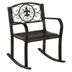 Cheap Topeakmart Sturdy Patio Metal Rocking Chair Porch Seat Deck Outdoor Backyard Glider Rocker in Bronze