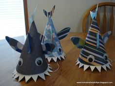 Homemade Crazy Hat Homemade shark party hats!