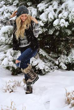 vest hat sweater boots jeans