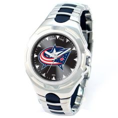 NHL Men's NHL-VIC-CBJ Victory Series Columbus Blue Jackets Watch Game Time. $69.95. Stainless steel case back. Water-resistant to 99 feet (30 M). Precise Japanese miyota Quartz movement. Adjustable sport buckle. Officially licensed team logo and colors. Seeing the pros take to the ice is so exciting that you can't miss one second. Catch the game right from the tip-off with the Gametime® NHL® Victory Series watch. It features a durable stainless steel case, boasts quartz mov...