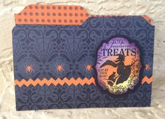 Cute file folder card made with Stampin Up's envelope punch board