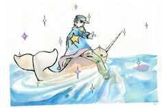colorful Jotaro on a Narwhal by ~JOSEPHSK on deviantART