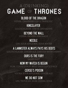 Game of Thrones inspired Drinks