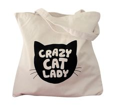 Canvas Tote Bag Crazy Cat Lady print on Natural by theboldbanana