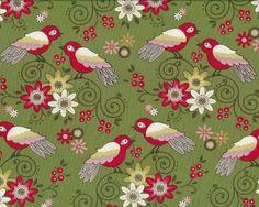 Patchworkstoff+TWEET+FOR+TWO,+bunte+Vögel,+grasgrün-rot