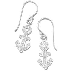 Rhodium Plated CZ Anchor Earrings ($32) ❤ liked on Polyvore featuring jewelry, earrings, zirconia earrings, zirconia jewelry, cz jewelry, anchor earrings and anchor jewelry