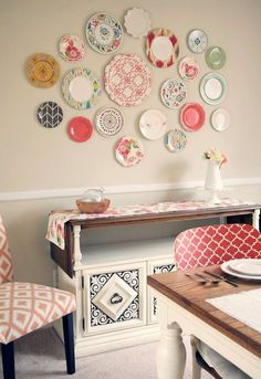 Create a plate wall without even having to put one nail hole in the wall.