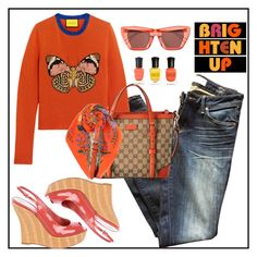 """""""Orange"""" by vegas777 ❤ liked on Polyvore featuring Marc by Marc Jacobs, Gucci, Rejina Pyo, Deborah Lippmann, orangeoutfit and popsoforange"""