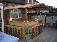 Outdoor Bar/ Home Bar/ Thatched Roofed Tiki Bar /Gazebo/ Pub Pool Bar, Deck Bar, Patio Bar, Outdoor Tiki Bar, Outdoor Kitchen Bars, Backyard Plan, Backyard Patio, Cabana, Diy Außenbar