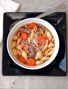 Italian Beef Soup with Pasta Shells - Cooking with Mamma C