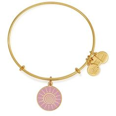 Alex and Ani 'Spiral Sun' Expandable Wire Bangle ($38) ❤ liked on Polyvore featuring jewelry, bracelets, gold, hinged bracelet, alex and ani jewelry, expandable wire bangle, charm jewelry and pink jewelry