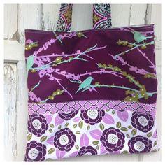 Purple Bird Tote Bag-Library Bag