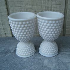 Milk glass hobnail egg cups--I remember there being a lot of milk glass around when I was a little girl. I was never all that fond of it. LOL