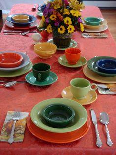 Handy Man, Crafty Woman: Fiesta Ware Thanksgiving Table Setting