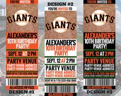 San Francisco Giants Birthday Invitation by GamedayPrintable