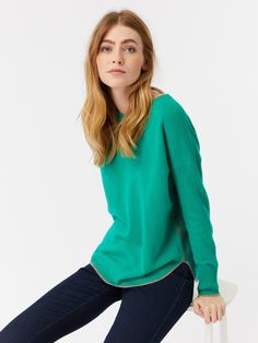 Sea Green White Stuff Cashmere Ella Curve Hem Jumper at Clothing By Colour Green Fashion, Knitwear, Jumper, Cashmere, Turtle Neck, White Stuff, Pullover, Stylish, Tees