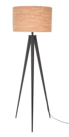 Tripod lamp cork zwart - Zuiver, komt in de woonkamer