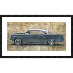 """Global Gallery 'Vintage Blue' by Dario Moschetta Framed Painting Print Size: 26"""" H x 44"""" W x 1.5"""" D"""