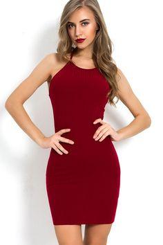 1d184d249a Women Dark-red Halter Backless Sexy Bodycon Dress - S. Ropa De Trabajo Vestidos ...