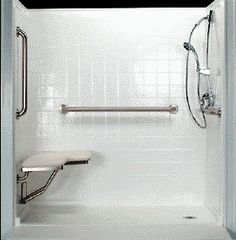 Handicap shower stalls are very important features in home bathrooms for those who are physically challenged. Get handicap shower stall selection tips. Ada Bathroom, Bathroom Colors, Small Bathroom, Bathroom Ideas, Handicap Shower Stalls, Handicap Bathroom, Wheelchair Accessible Shower, Shower Wheelchair, Roll In Showers