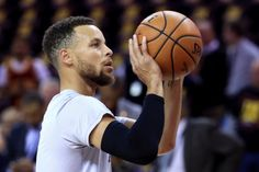 Stephen Curry of the Golden State Warriors warms up before Game 3 of the 2017 NBA Finals against the Cleveland Cavaliers at Quicken Loans Arena on. Golden State Basketball, Basketball Art, Mvp Player, Stephen Curry Wallpaper, 2017 Nba Finals, Wardell Stephen Curry, Stephen Curry Pictures, Curry Warriors, Ian Clark