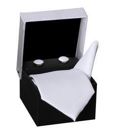 Tiekart Combo Of White Cufflink Necktie & Pocket Square