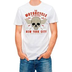 T shirt NY skull ride classic vintage motorcycle White XXL - Brought to you by Avarsha.com