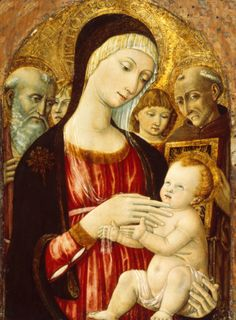 Madonna and Child with Saints and Angels [Edit] by Matteo di Giovanni.  #FACT: Matteo di Giovanni was also known for being called Matteo da Sienna, due to his work coming from the Sienese style of painting.