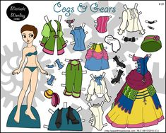 Steampunk or Neo-Victorian paper doll with mix and match clothing in full color for printing. I drew her back in Sept. 2010.