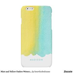 Mint and Yellow Ombre Watercolor Matte iPhone 6 Case